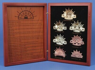 Australia WWI Commemorative Rising Sun Hat Badge Collection in Wooden Case