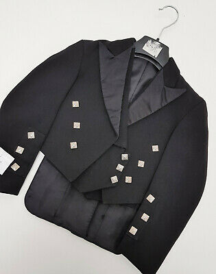 Kids Ex Hire Black Prince Charlie Jacket & Vest Scottish Made A1 condition