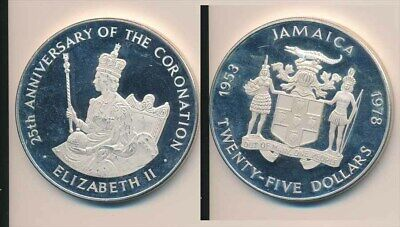 Jamaica: 1978 $25 QEII Silver Jubilee  4.05oz ASW Large Proof Silver Coin