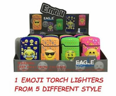 2 Pack! Emoji Torch Lighter Adjustable Flame Windproof Butane Refillable
