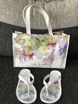 7fa826177 Ted Baker Beach Set Flip Flops and Bag size 4 Holiday Sandals Shoes