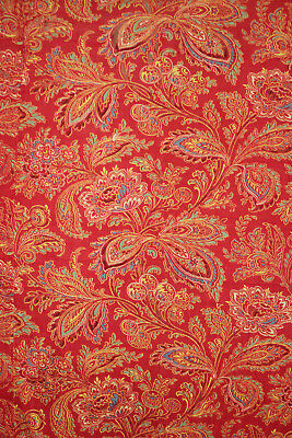 Antique French Fabric Turkey red fragmented panel 1830-50 printed cotton paisley