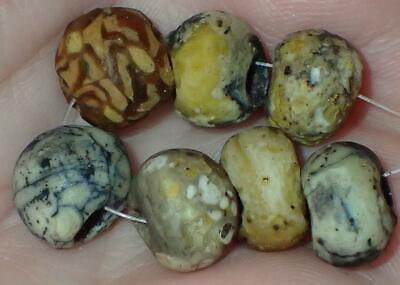 7 Ancient Rare Roman Glass beads, 10-11mm, 1800+Years Old, #S510