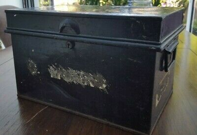 OLD USED METAL DEED DOCUMENT BOX BANK VAULT SAFE TIN STORAGE CASH VALUABLES 36cm