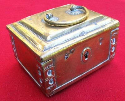 RARE SMALL 1700s BRASS COPPER IRON LOCK BOX ~DESIRABLE SMALL SIZE