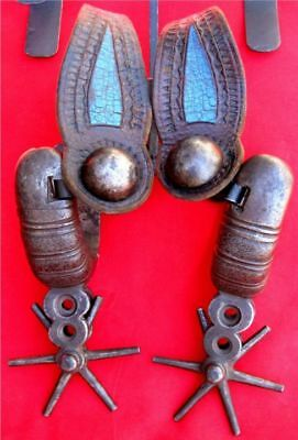 FINE & RARE 1860's BIG IRON 5 POUND SPURS ~ ORIGINAL STRAPS! ~ WITH PROVENANCE