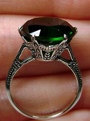 5ct Emerald/Green Sterling Silver Edwardian 1910 Filigree Ring {Made To Order}