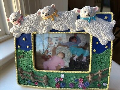 Picture Frame Ceramic Adorable Lambs Jumping Sheep For Nursery Or Home Decor