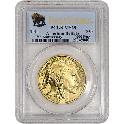 2011 American Gold Buffalo 1 oz $50 - PCGS MS69 - First Strike - Buffalo Label