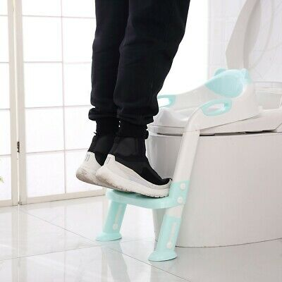 Soft Cushion Potty Training Seat Step Stool Ladder Kids Toddler Toilet Chair 666