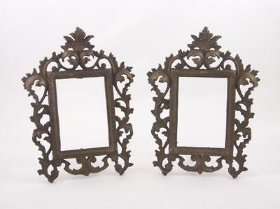 Pair Ornate Cast Iron Metal Picture Frames with Easel Art Nouveau Rococo Baroque