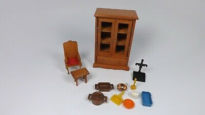 Vintage Doll House Furniture Hutch Chair End Table & Kitchen Accessories Lot