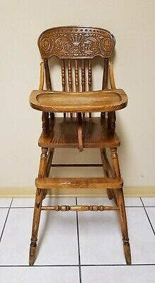 Vintage Wood Baby High Chair - Hand Carved Back - Filigree Style Safety Seat