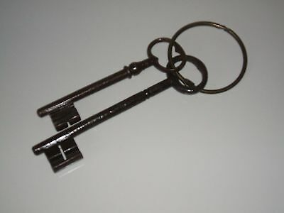 Original Antique Pair of Large Jail Skeleton Keys - Histoical Collectable Rare -