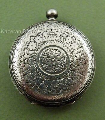 Antique Solid Silver Open Face Fob Pocket Watch Spares Or Repair