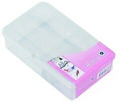 Hemline M3004.xs | Transparent Plastic Sewing Storage Box 11.7 x 7.1 x 3½cm