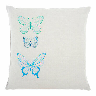 Vervaco Embroidery Kit Cushion | Blue Butterflies on Grey Cotton | 40 x 40cm