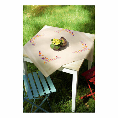 Vervaco Embroidery Kit Tablecloth |  Playful Flowers on Beige | Size 80x80cm