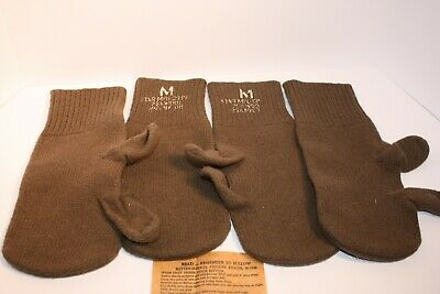 U.s. Army Wool Mittens Inserts 1948           2Pairs Good Condition For It's Era