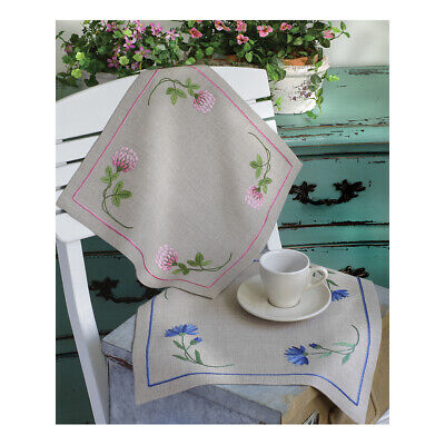 ANCHOR | Embroidery Kit: Clover Pink - Linen Tablecloth | 92400002335