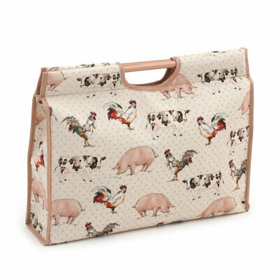 HobbyGift HGCB308 | Farmyard Craft Bag | Wood Handle | 11 x 42 x 30cm
