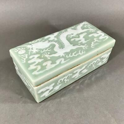 19th c. Chinese Export Slip-Decorated Celadon Ground Porcelain Box with Dragon