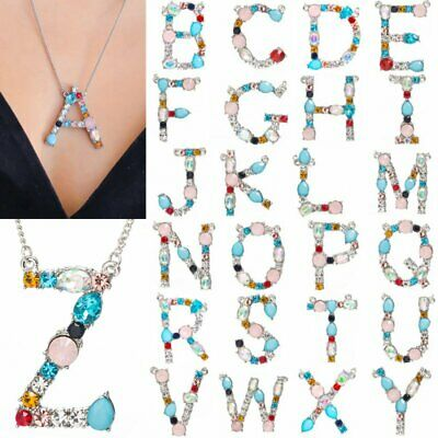A-Z Alphabet 26 Letters Necklace Crystal Women's Pendant Chain Fashion Jewelry