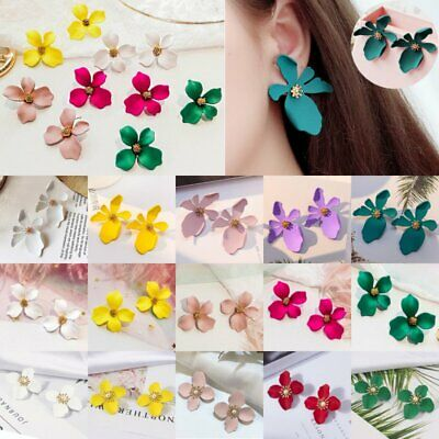 Fashion Boho Painting Big Flowers Daisy Ear Stud Earrings Women Jewelry Wedding
