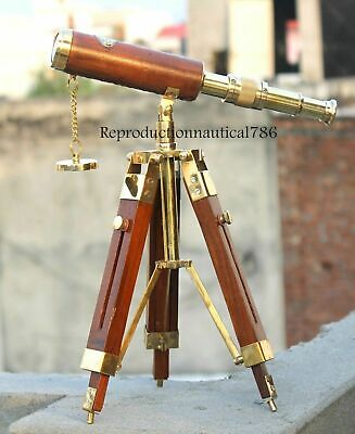 Nautical Brass Telescope With Wooden Tripod Collectible Marine Scope Item Gift