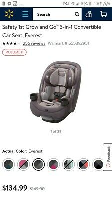 Safety 1st Grow And Go 3 In 1 Convertible Car Seat Gray