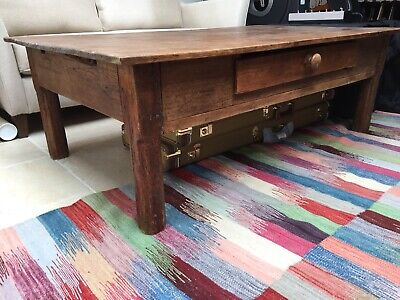 French Antique Wood Plank Top Coffee Table Side Table with Drawer. Great Colour.