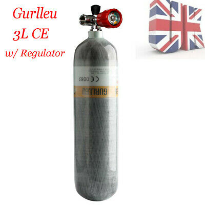 Gurlleu Small PCP 3L 4500Psi Carbon Fiber CylinderTank w/Valve Holiday Air Tank