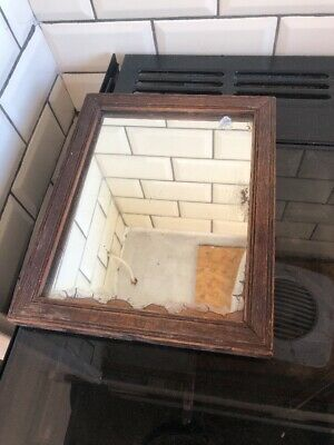 antique foxed Distressed mirror Ideal Bathroom Shaving Mirror Wood Frame Boho