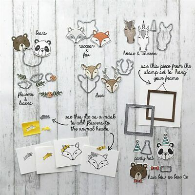 Animal Friends Metal Cutting Dies and Stamps for Scrapbooking Card Making