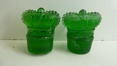 2 Green Pressed Glass Bottle Stoppers Kings Crown