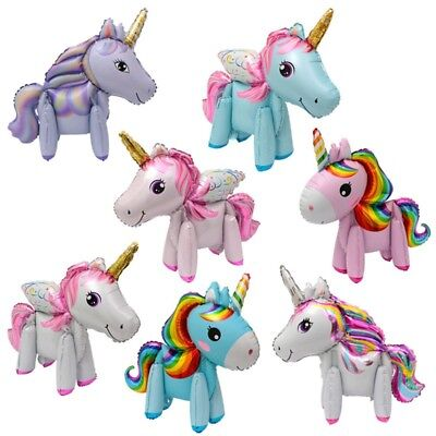 5PC Unicorn Foil Aluminum Balloon Rainbow Animals Baby Birthday Party Decor Yulu