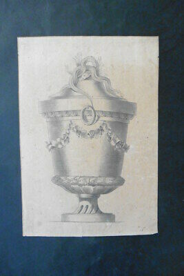 FRENCH SCHOOL 18thC - ARCHITECTURAL STUDY - CLASSICAL VASE - INK DRAWING
