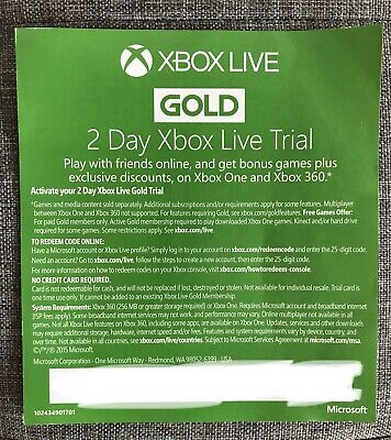 Xbox Live Gold 2 Day Trial Code (Instant Dispatch To Ebay Inbox)