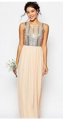 5919258f9959 TFNC WEDDING Sequin Maxi Dress with Open Back (NUDE ) RRP £65.00 size 10
