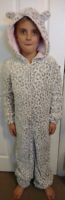 Loungeable Boutique Soft Pink Leopard Womens Applique Hooded All In One XS BNWT