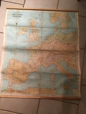 Vintage Bartholomew  Map 1966 Western Europe 1:3,000,000 With Hanging Poles