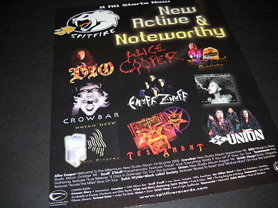 5ca5589ee883d DIO Testament ALICE COOPER Black Label Society TNT Crowbar PROMO POSTER AD  mint