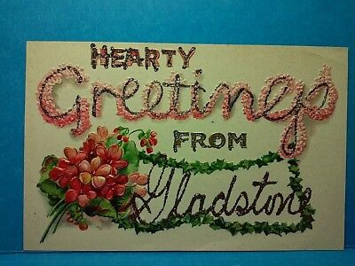 1900'S Embossed Greetings Post Card,  Glitter Added Later  (16R1646)
