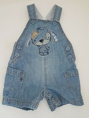 0-3 Month Baby Boys Denim Look Blue Dog Summer Short Dungarees From Next