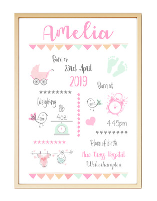 Personalised Baby Birth Christening Gift Keepsake Poster Print Picture A4 PR77