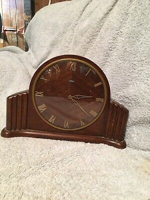 Vintage Art Deco Wooden Mantel Clock, Metamec.