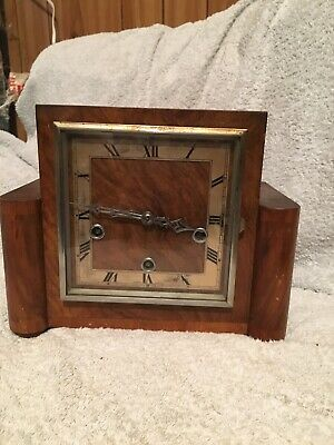 Vintage Art Deco Wooden Mantel Clock, Enfield