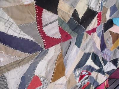 Charming Old Primitive Vintage Crazy Quilt Hand Sewn Shabby Needs TLC
