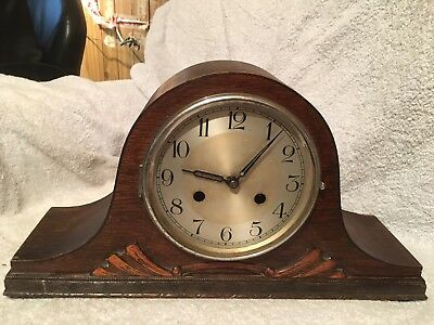 Vintage, ART DECO Napoleon Hat Wooden Mantel Clock