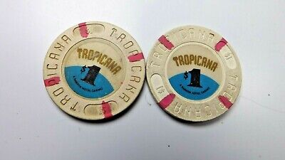 TROPICANA: A RAMADA HOTEL $1 dollar hotel casino gaming chip lot of 2